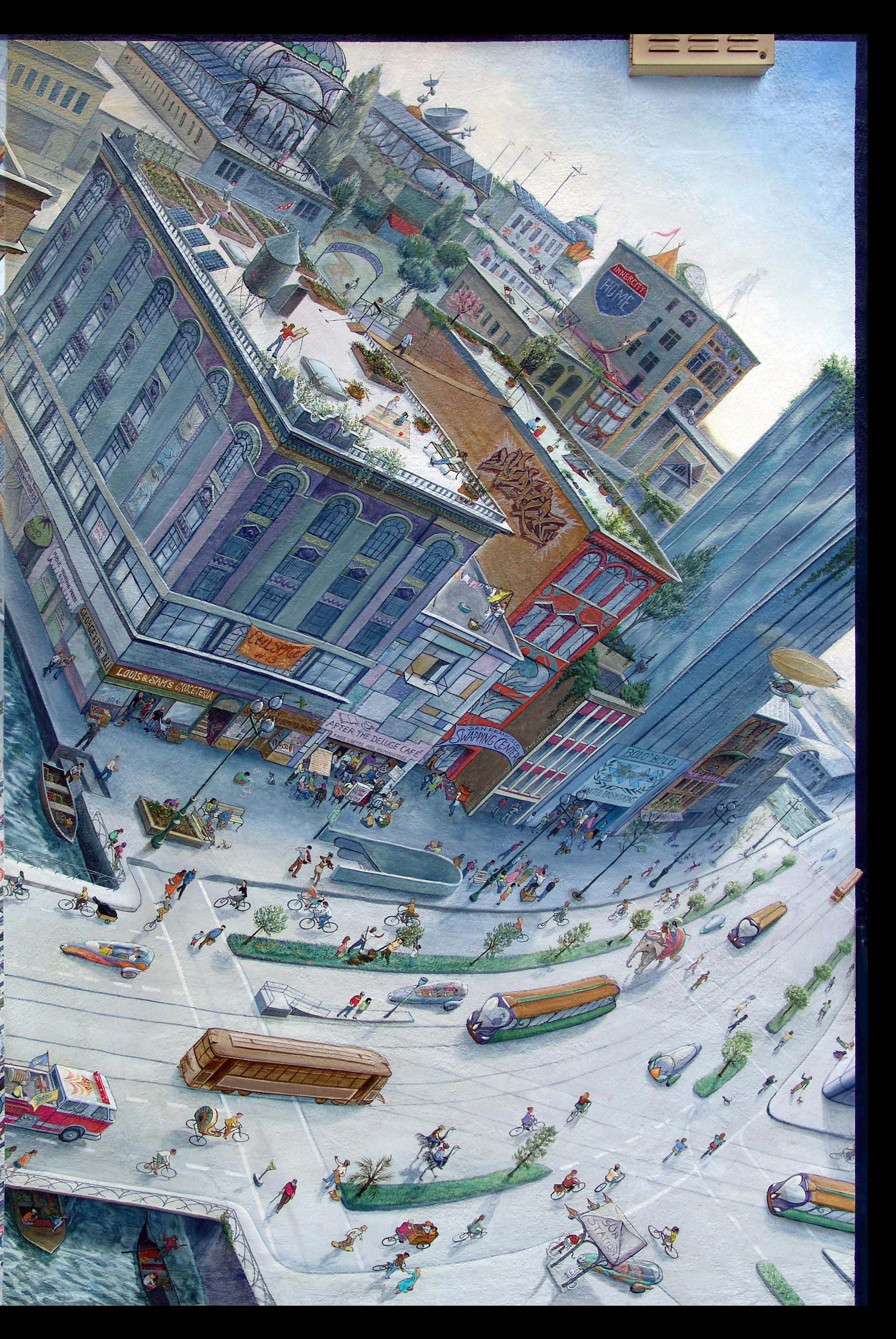 Future Market Street Railway Mural by Mona Caron