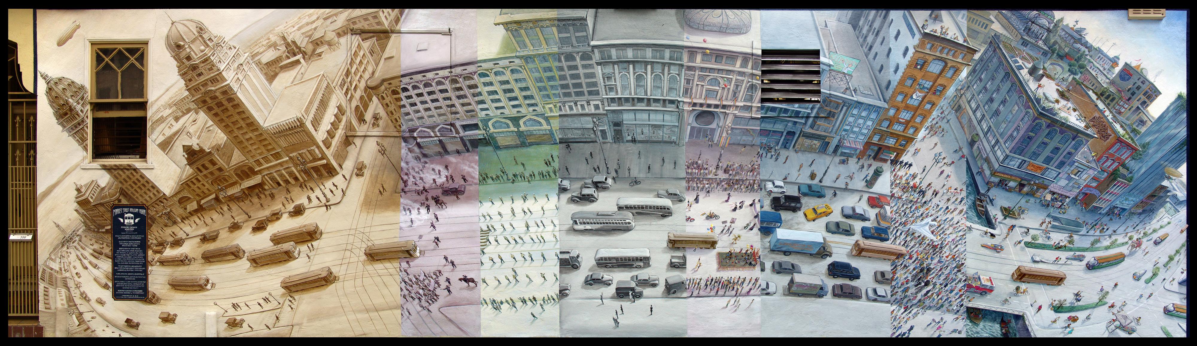 Market St. Railway Mural by Mona Caron
