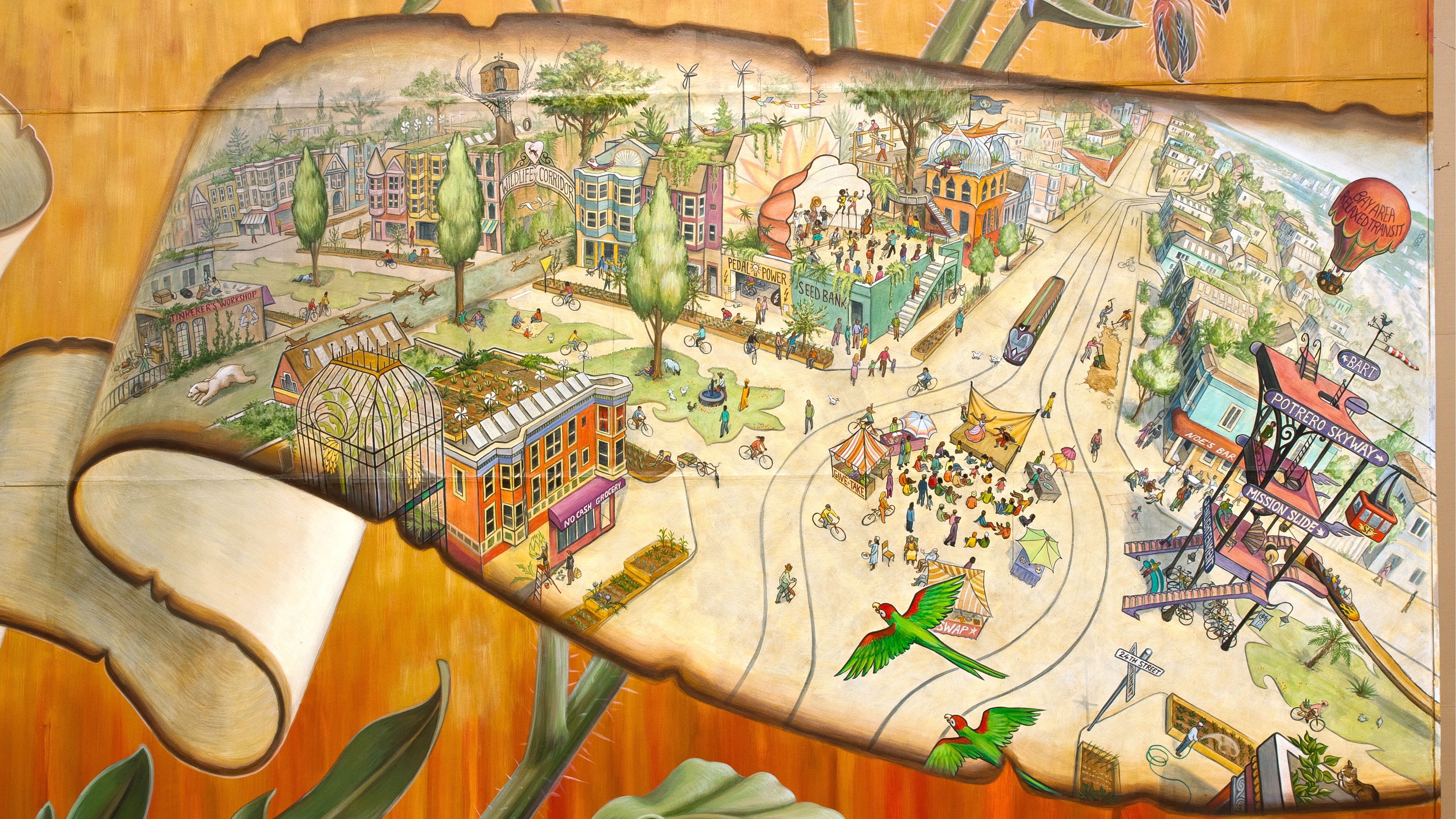 [ZOOMABLE IMAGE] A future fantasy view of 24th and Church St. in San Francisco, within the Noe Valley mural by Mona Caron