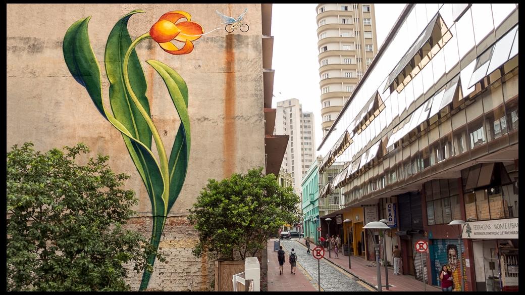 Curitiba bike flower mural - Mona Caron