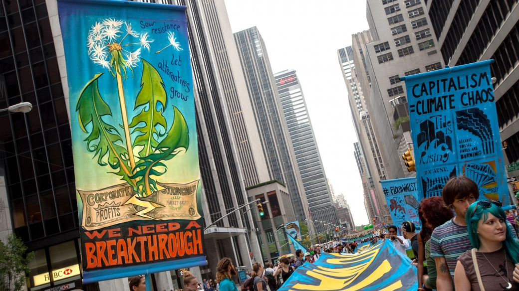 dandelion at the Peoples' Climate March in NY