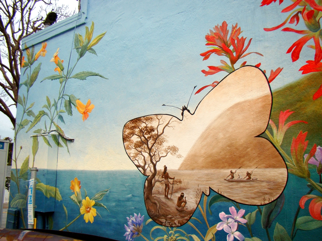 The Ohlone looking across the Bay, in the first of several vignettes within the mural