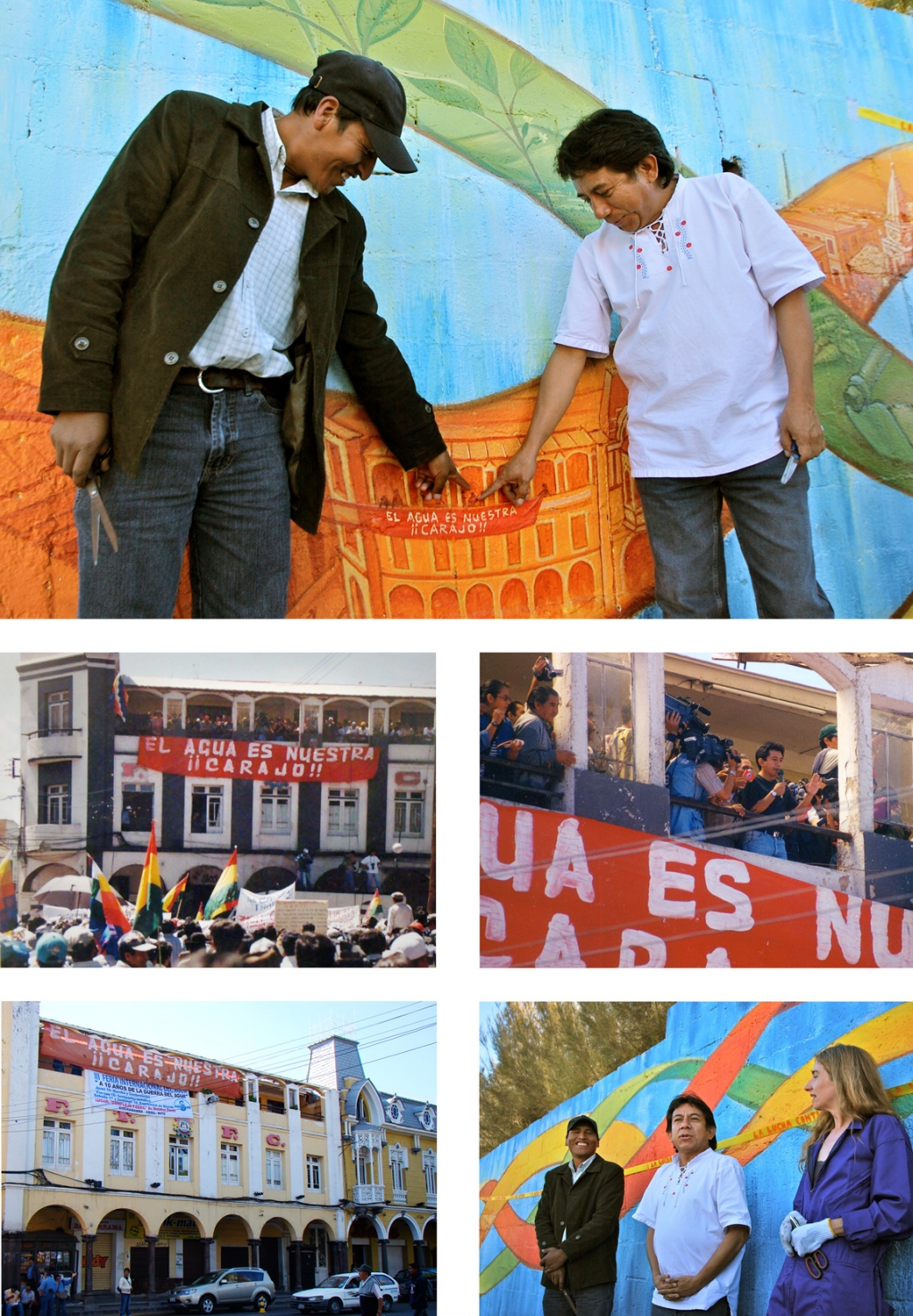 <strong>Top</strong>: Oscar Olivera (right) and Abraham Grandydier of Asica-sur, find themselves in the mural.</p><div><strong>Middle</strong>: Thebalcony of the Federation of factory workers, and Oscar speaking to the crowd in April 2000.<br /><strong>Bottom</strong>: The same balcony with the banner brought back for the anniversary, Oscar and Abraham in 2010.