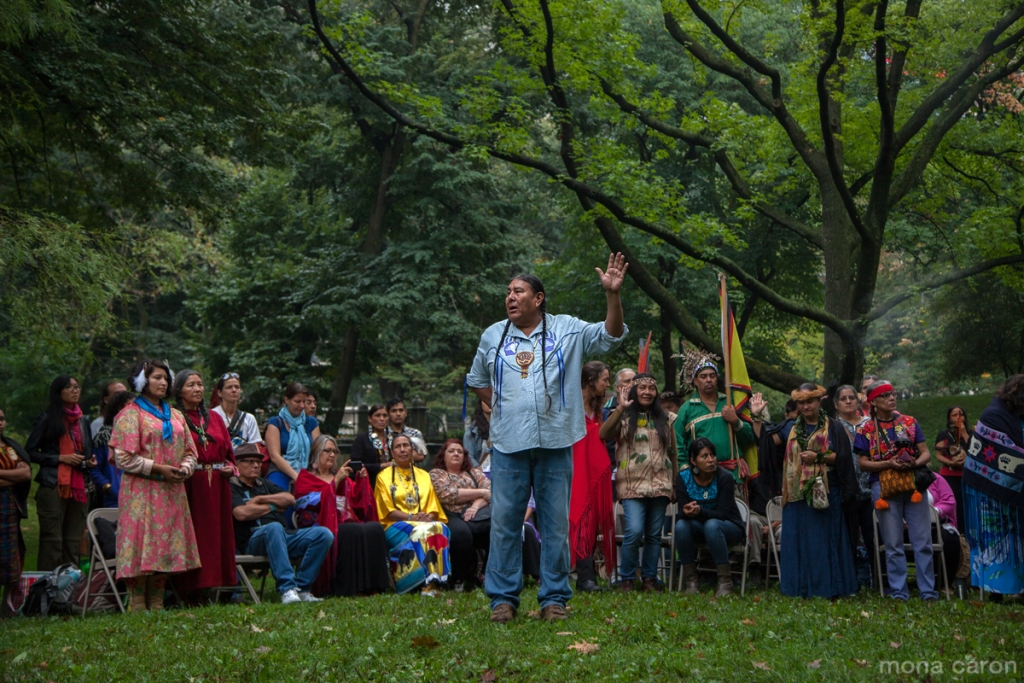 At dawn, the morning of the Peoples Climate March, indigenous leaders from across the world gathered in Central Park. In the foreground, Tom Goldtooth of the Minnesota Indigenous Environmental Network