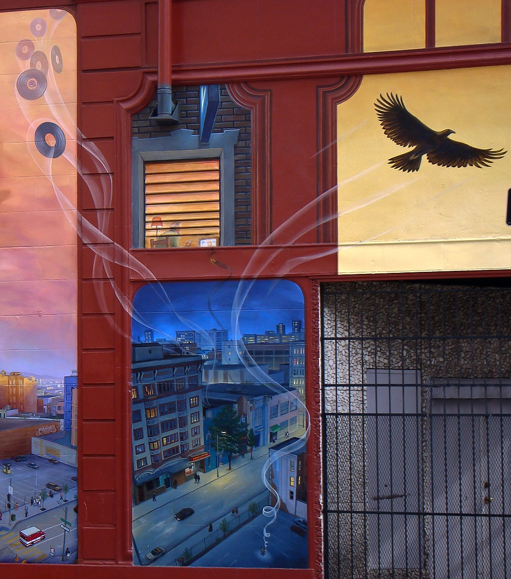 Windows Into The Tenderloin by Mona Caron: the night scene