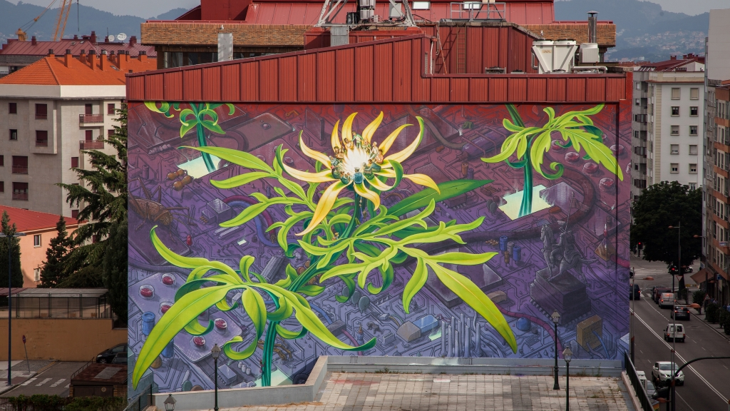 "Mural by Mona Caron and Liqen titled ""Emer-gentes"""