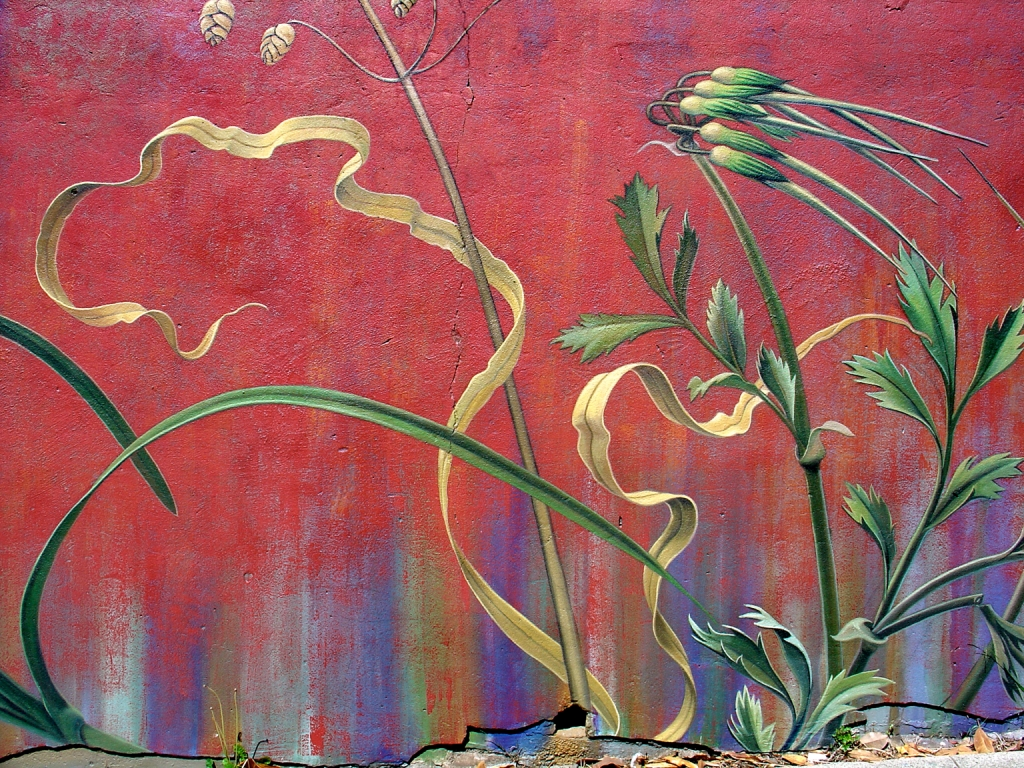 Detail of The Botanical Mural by Mona Caron