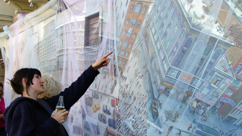 The Unveiling of the Market St. Railway Mural by Mona Caron