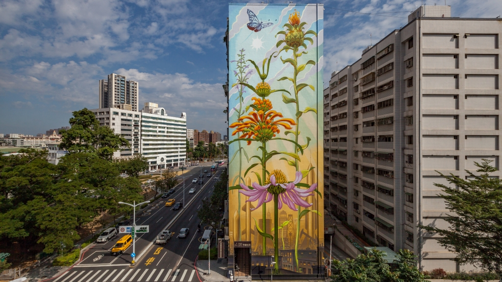 """Outgrowing"" mural by Mona Caron in Taiwan"