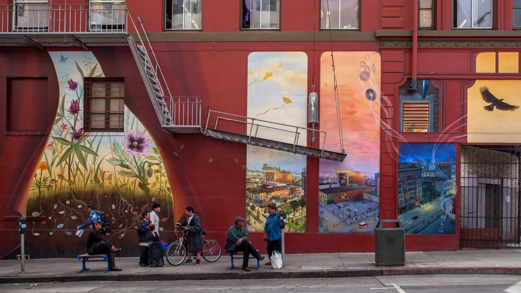 """Windows Into the Tenderloin"" mural by Mona Caron - Jones Street side"