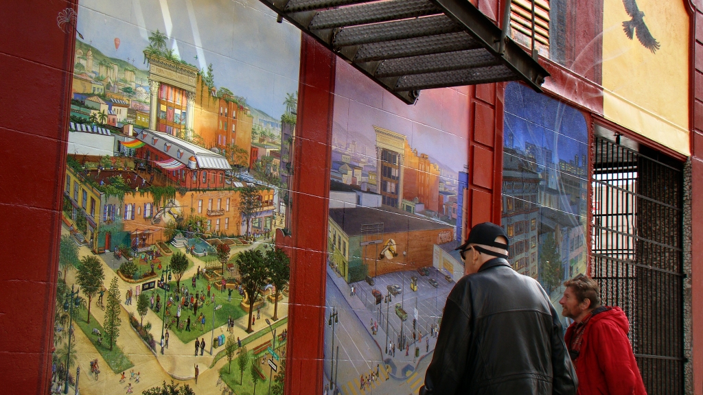 """Windows Into the Tenderloin"" mural by Mona Caron"