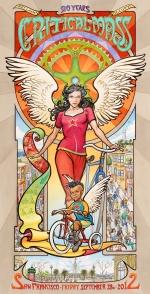 Twentieth Anniversary of Critical Mass Poster by Mona Caron